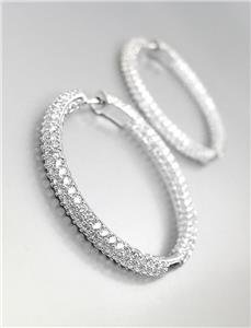"""STUNNING 18kt White Gold Plated INSIDE OUTSIDE CZ Crystals 1 1/4"""" Hoop Earrings"""