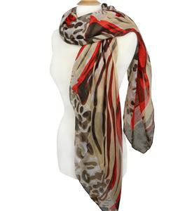 EXOTIC Lightweight Silky Red Brown Animal Print Fashion Scarf