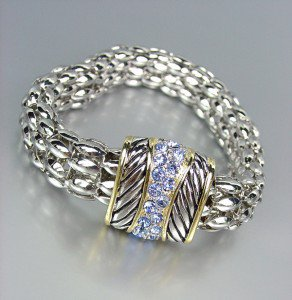 Designer Style Blue CZ Pave Crystals Cable Silver Mesh Chain Magnetic Bracelet
