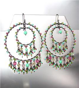 FABULOUS Multicolor Crystals Antique Metal Chandelier Dangle Peruvian Earrings
