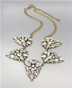 GLITZY Urban Anthropologie CZ Crystals Medallions Antique Gold Chain Necklace