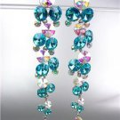 STUNNING Aqua Blue Iridescent Czech Crystals WATERFALL Long Dangle Earrings