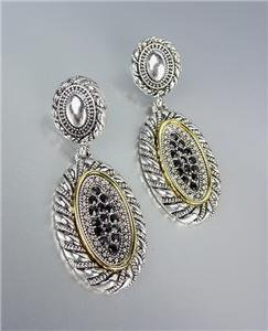 CLASSIC Designer Inspired Silver Cable Pave Black Onyx CZ Crystals Earrings
