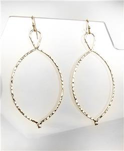 CHIC Lightweight Urban Anthropologie Thin Gold Hammered Metal Dangle Earrings