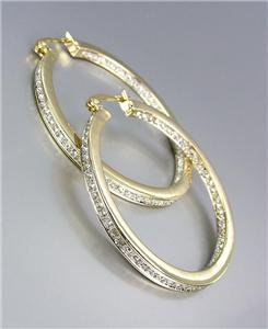CLASSIC 18kt Gold Plated Inside Outside CZ Crystals Round Hoop Earrings 6488