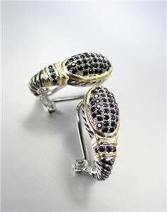 CLASSIC Balinese Silver Cable Gold Pave Black Onyx CZ Crystals Oval Earrings