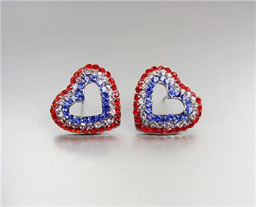SPARKLE Red White Blue Swarovski Crystals Heart USA American Flag Earrings