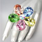 STUNNING Chunky Multicolor Czech Crystals Floral DIVA Queen Cocktail Ring
