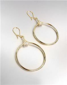 CHIC Designer Inspired Gold CZ Crystals Horsebit Ring Dangle Earrings