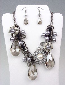 Stunning Smoky Quartz Crystals Pearls Cluster Chunky Necklace Earrings Set