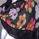 STYLISH Black Multicolor Floral Crochet Knit Weave Fashion Scarf