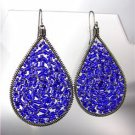 CHIC Sapphire Blue Peruvia Crystals Antique Metal Chandelier Dangle Earrings