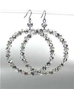 GLITZY Urban Anthropologie Smoky Hematite Crystals Statement Dangle Earrings 188