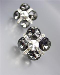 GLITZY Smoky Gray Czech Crystals Bridal Prom Pageant Queen CLIP Earrings