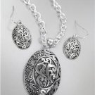 CLASSIC Brighton Bay Silver Antique Filigree Oval Pendant Necklace Earrings Set