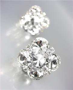 EXQUISITE Clear Czech Crystals Bridal Prom Pageant Queen CLIP Earrings
