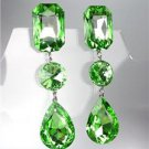 GLITZY Peridot Green Czech Crystals LONG Bridal Queen Pageant Prom Earrings