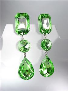 GLITZY Peridot Green Czech Crystals LONG Bridal Queen Pageant Prom Earrings