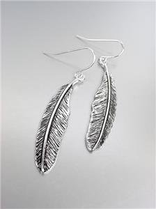 CHIC Ultra Lightweight Silver Feather Feathers Dangle Earrings