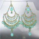 CHIC Aqua Blue Aventurine Crystal Beads Gold Chandelier Peruvian Earrings B28-4
