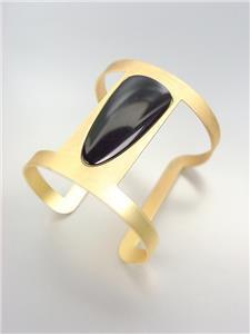 CHIC MODERN Mat Gold Metal Black Onyx Oval Lucite Wide Cuff Bracelet PLUS SIZE