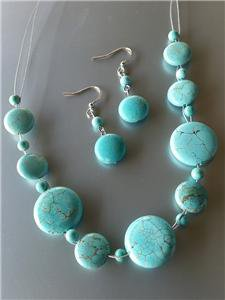 Urban Anthropologie Turquoise Stone Beads Thin Cable Wires Necklace Earrings Set