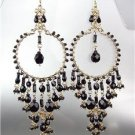 STUNNING Black Onyx Crystal Beads Gold Chandelier Dangle Peruvian Earrings 20BK