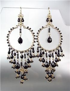 STUNNING Black Onyx Crystal Beads Gold Chandelier Dangle Peruvian Earrings 20BK