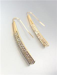 CHIC & STYLISH Gold CZ Crystals Wire THREADER Dangle Earrings