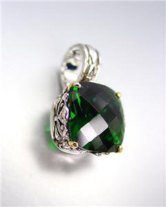 Designer Style Silver Gold Balinese Filigree Emerald Green CZ Crystal Pendant