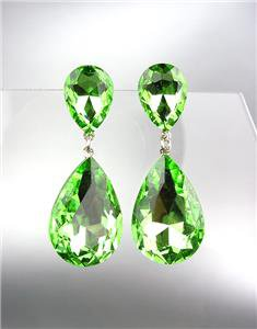 GLITZY Peridot Green Czech Crystals Bridal Queen Pageant Prom Earrings 2631