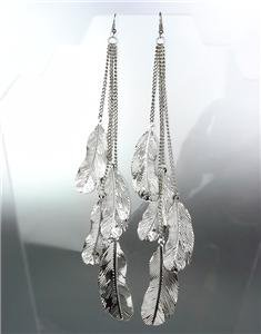 CHIC Silver Chain Feathers Long Shoulder Duster Dangle Earrings