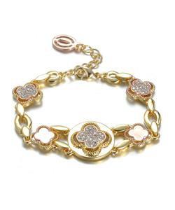 NEW Designer Inspired Gold Rose Copper Clover Clovers CZ Crystals Links Bracelet