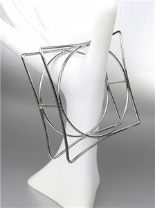CHIC & UNIQUE Thin Silver Wire Geometric Square Round STATEMENT Bangle Bracelet
