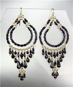 GORGEOUS Black Onyx Crystals Peruvian Beads Gold Chandelier Dangle Earrings B96