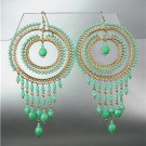 STUNNING Turquoise Crystal Beads Gold Chandelier Dangle Peruvian Earrings 88T