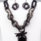 Victorian Black Crystal Pearls Crystals Antique Chains Necklace Earrings Set
