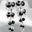 EXQUISITE Black Clear Czech Crystals WATERFALL Long Dangle CLIP Earrings