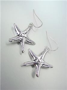 ADORABLE Natural Silver Starfish Dangle Earrings