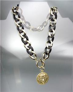 CHIC Designer Chunky Gold Metal Black Lucite Chain LEO LION Medallion Necklace