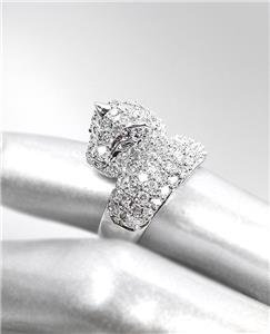 EXQUISITE Designer Style 18kt White Gold Plated CZ Crystals LEOPARD Ring