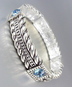 CLASSIC Brighton Bay Silver Cables Blue Topaz Crystals Stretch Bracelet