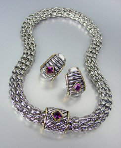 Designer Style Silver Cable Purple Amethyst Crystal Magnetic Mesh Necklace Set
