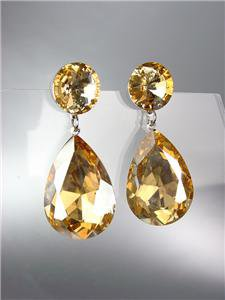GLITZY Light Brown Topaz Czech Crystals Bridal Queen Pageant Prom Earrings