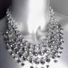 GLITZY Smoky Silver Hematite Czech Crystals Bib Drape Necklace Set