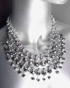 GLITZY Smoky Silver Hematite Czech Crystals Bib Drape Necklace Set