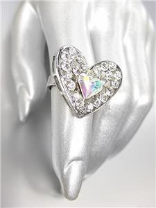 SHIMMERY SPARKLE Clear AB Crystals Silver HEART Cocktail Ring