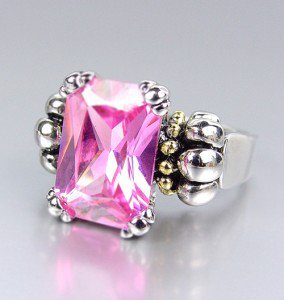 CLASSIC Silver Emerald-cut Pink Rose Quartz CZ Crystal Glacier Ring