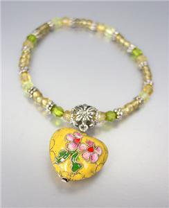 DECORATIVE Yellow Multi Cloisonne Enamel Heart Charm Beads Stretch Bracelet