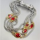 GORGEOUS Silver Box Chain Cables Red CZ Crystals Magnetic Clasp Bracelet